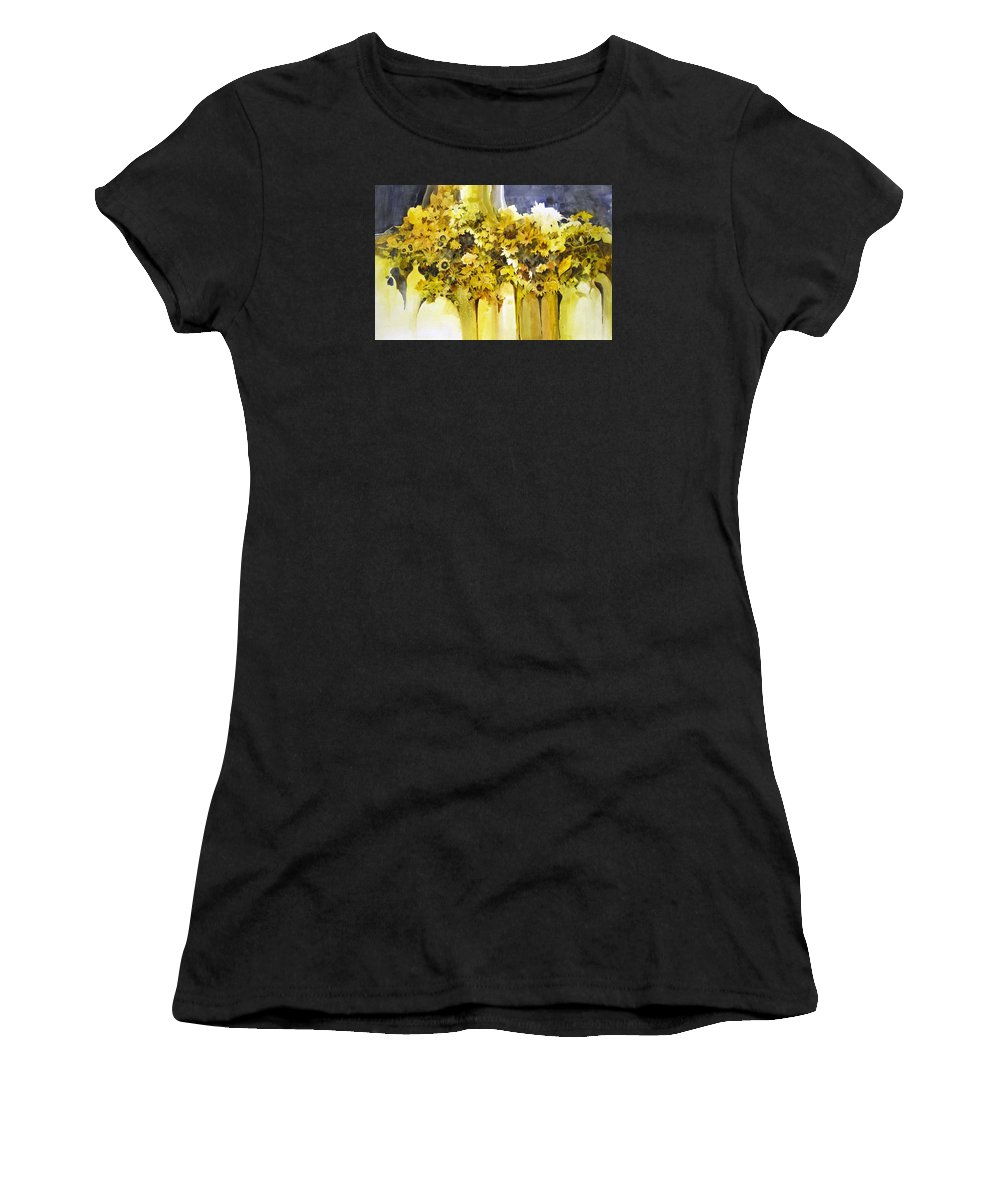 Yellow Flowers;sunflowers;vases;floral;contemporary Floral; Women's T-Shirt (Athletic Fit) featuring the painting Vases Full Of Blooms  by Lois Mountz