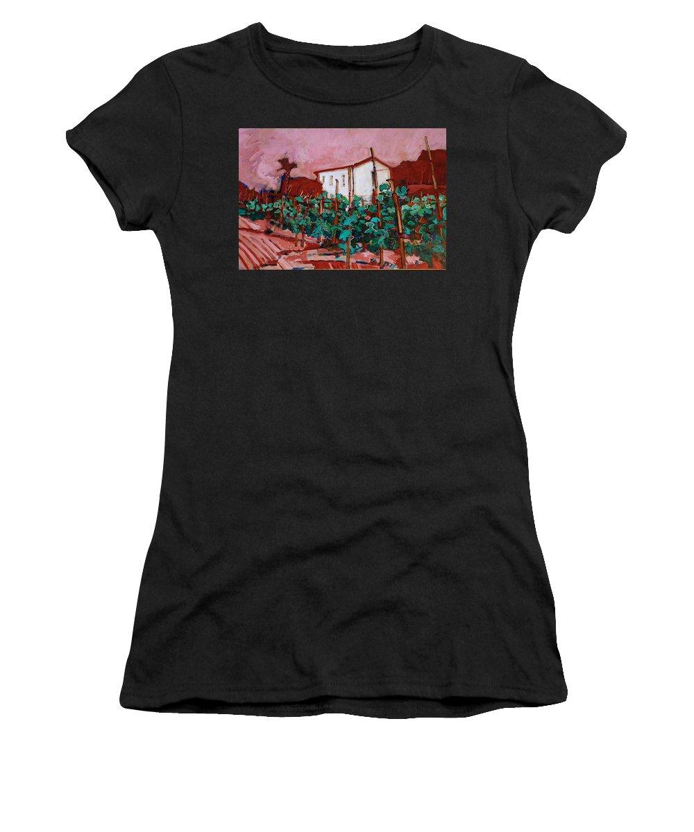 Tuscany Women's T-Shirt (Athletic Fit) featuring the painting Vecchio Casa Di Pietro by Kurt Hausmann