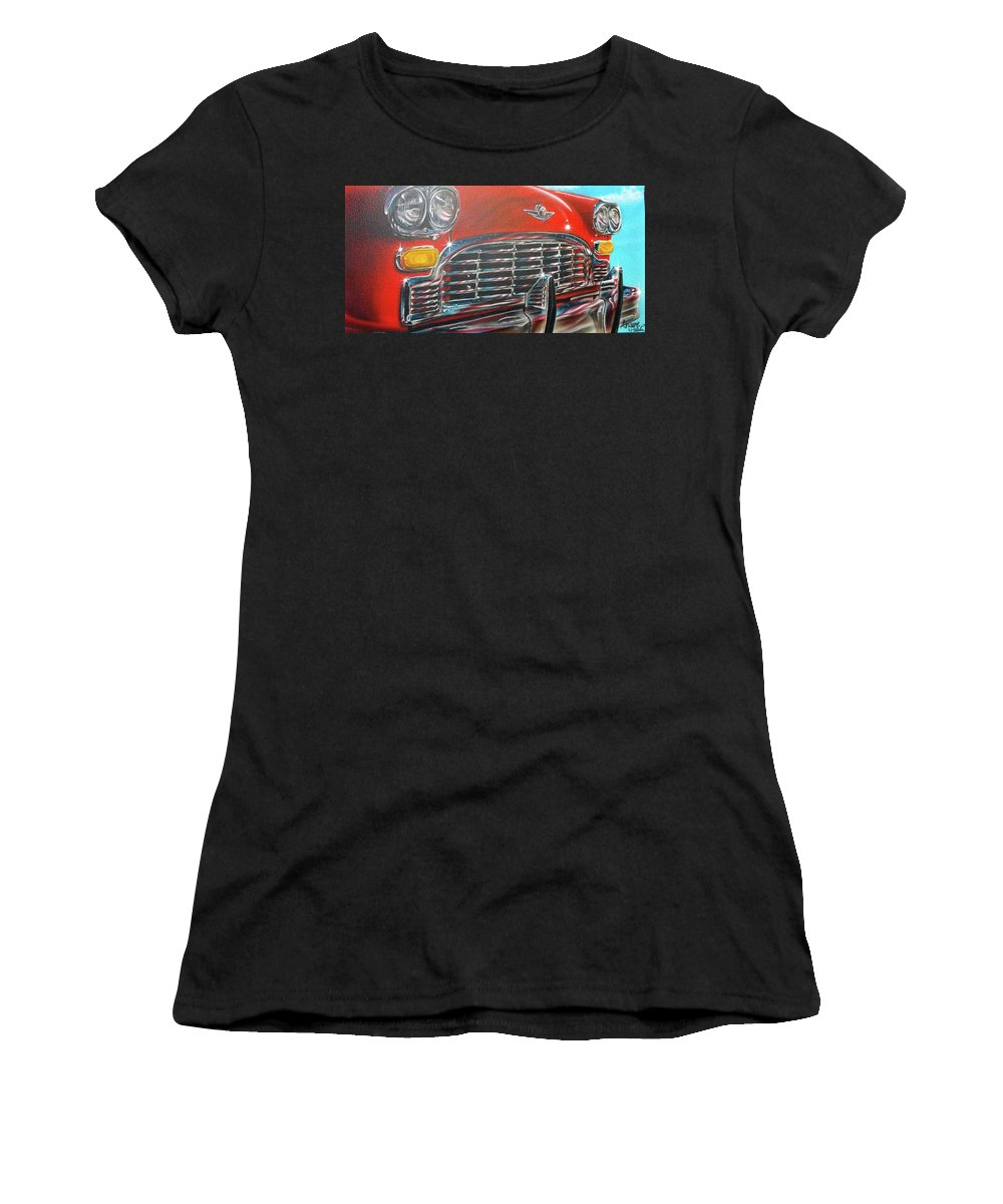 Airbrush Women's T-Shirt (Athletic Fit) featuring the painting Vehicle- Grill by Shawn Palek