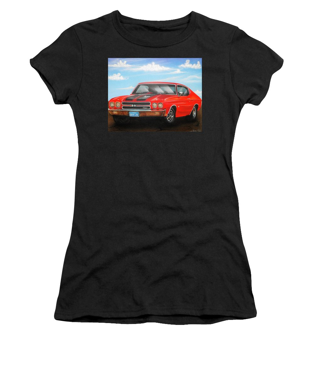 Airbrush Women's T-Shirt (Athletic Fit) featuring the painting Vehicle- Nova by Shawn Palek