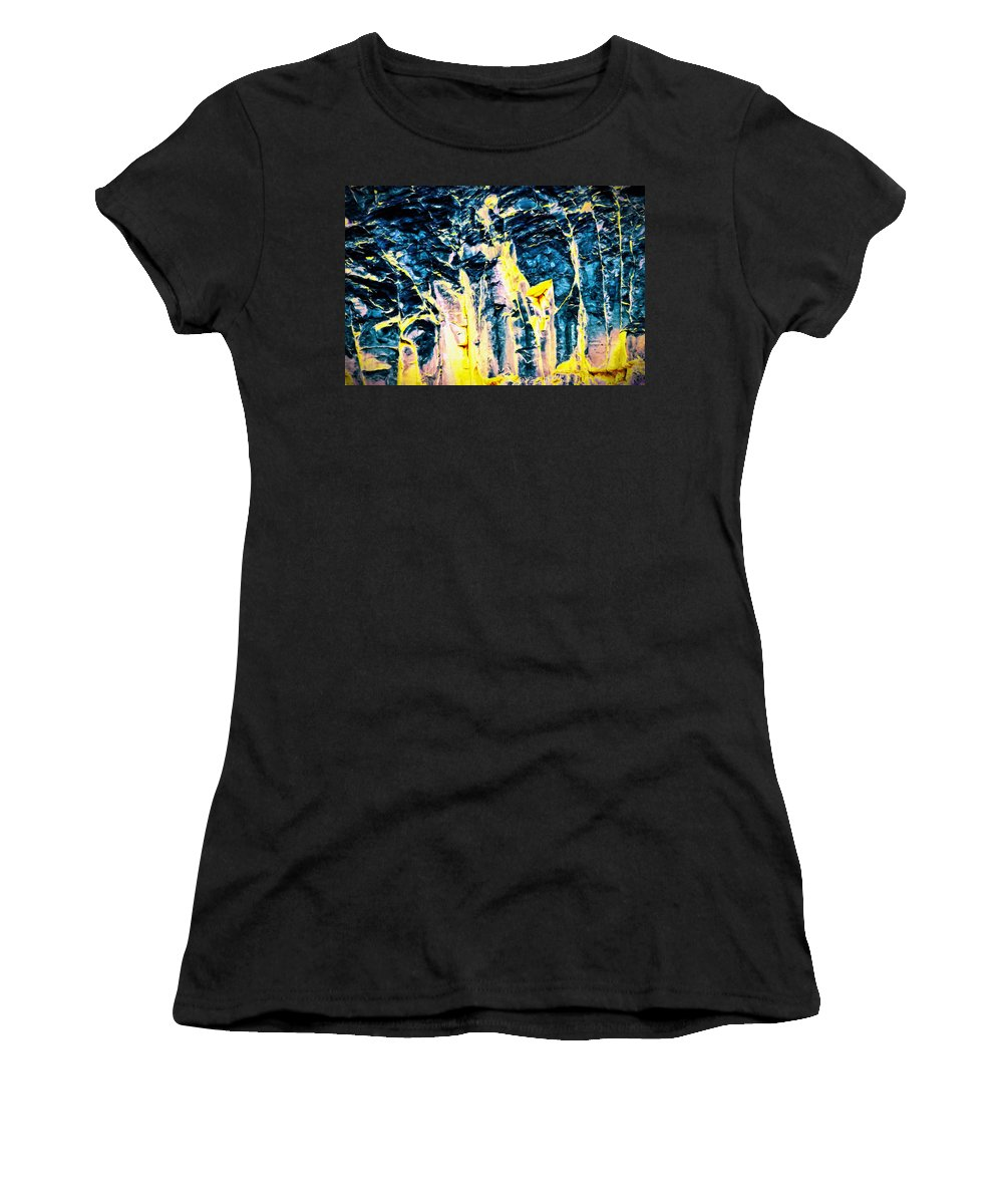 Abstract Women's T-Shirt featuring the painting Veins by Jim Buchanan