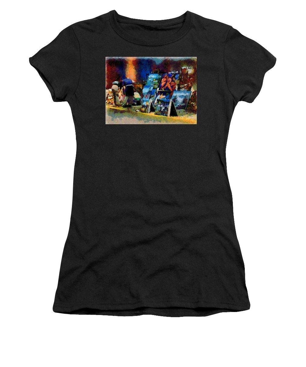 Paints Women's T-Shirt (Athletic Fit) featuring the photograph Vendedor De Pinturas by Galeria Trompiz