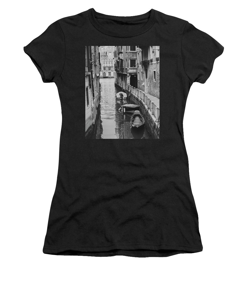 2011 Women's T-Shirt featuring the photograph Venice Docked Boats by Jovanni Casaus