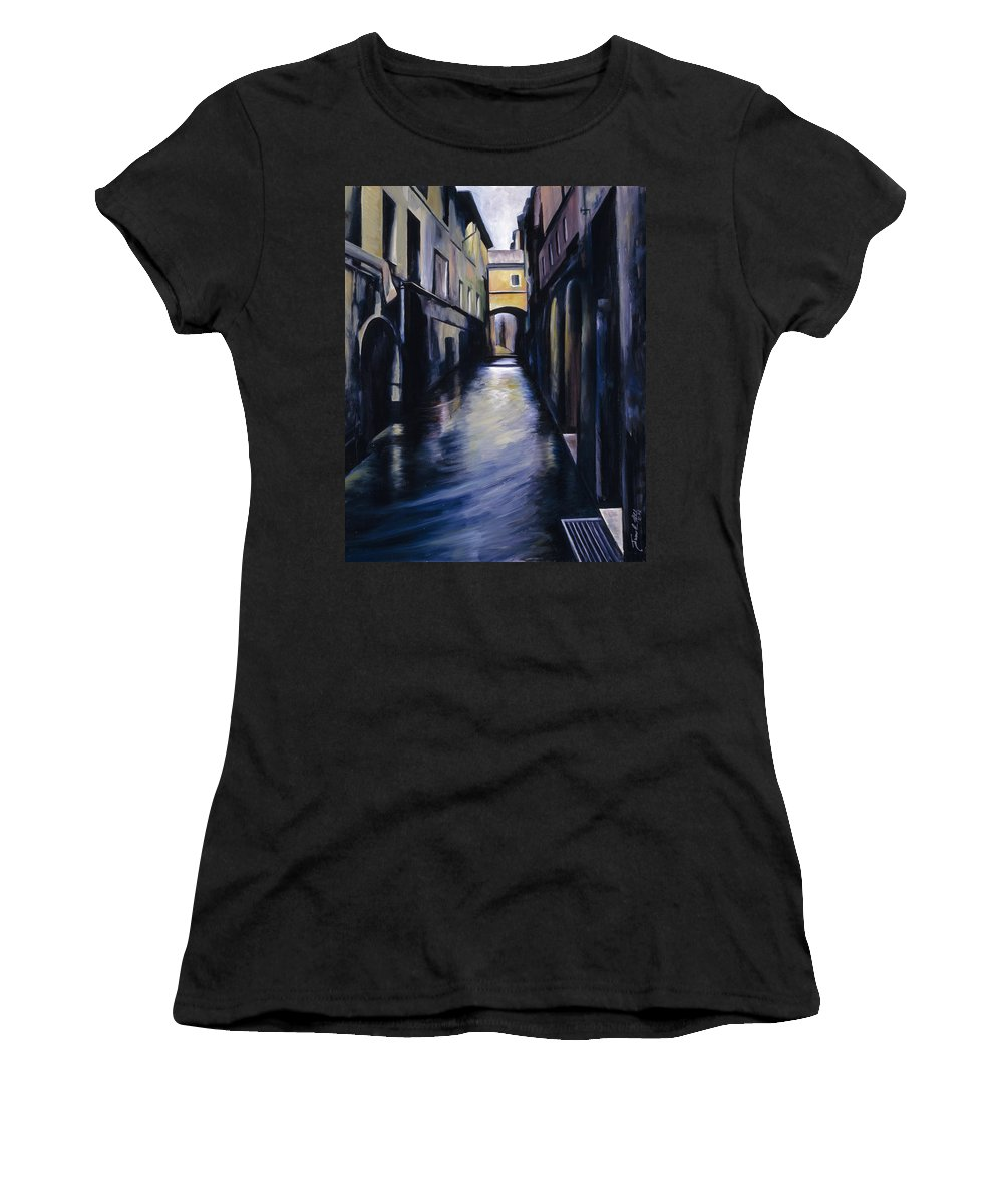 Street; Canal; Venice ; Desert; Abandoned; Delapidated; Lost; Highway; Route 66; Road; Vacancy; Run-down; Building; Old Signage; Nastalgia; Vintage; James Christopher Hill; Jameshillgallery.com; Foliage; Sky; Realism; Oils Women's T-Shirt featuring the painting Venice by James Christopher Hill