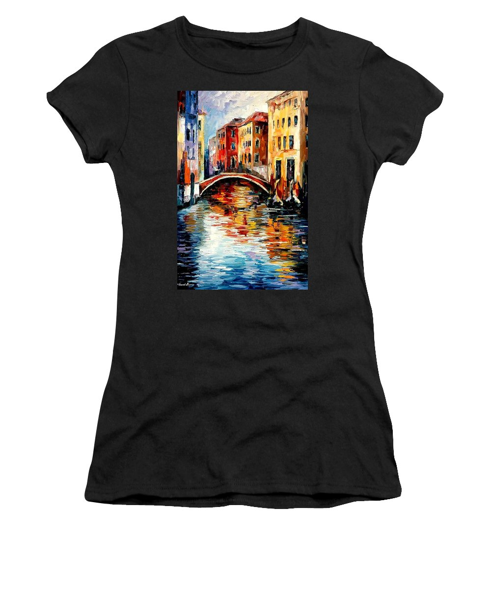 Landscape Women's T-Shirt (Athletic Fit) featuring the painting Venice by Leonid Afremov