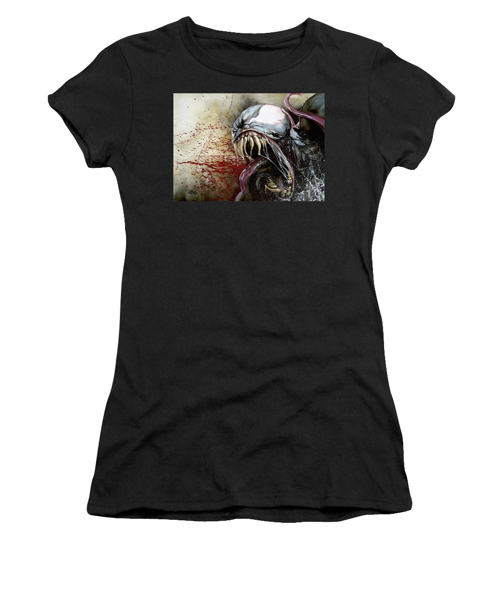 Venom Women's T-Shirt (Athletic Fit) featuring the painting Venom by Marc Brawner