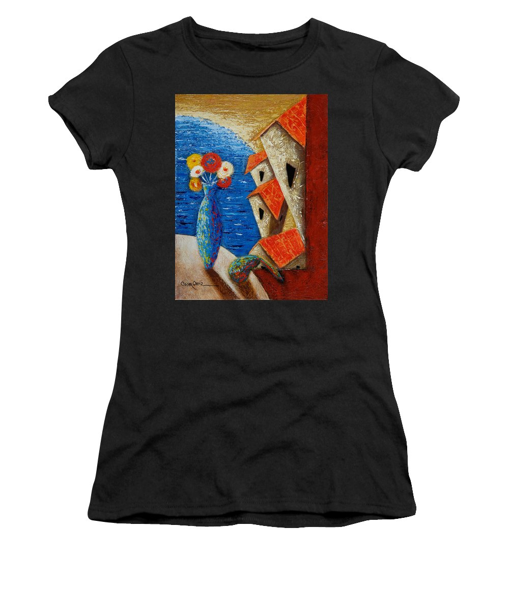 Landscape Women's T-Shirt featuring the painting Ventana Al Mar by Oscar Ortiz