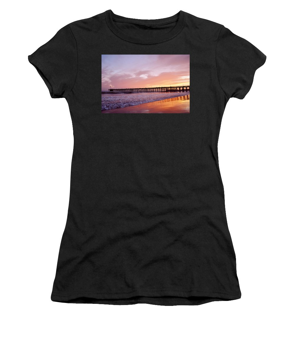 Ventura Women's T-Shirt (Athletic Fit) featuring the photograph Ventura Pier Sunset by Kyle Hanson