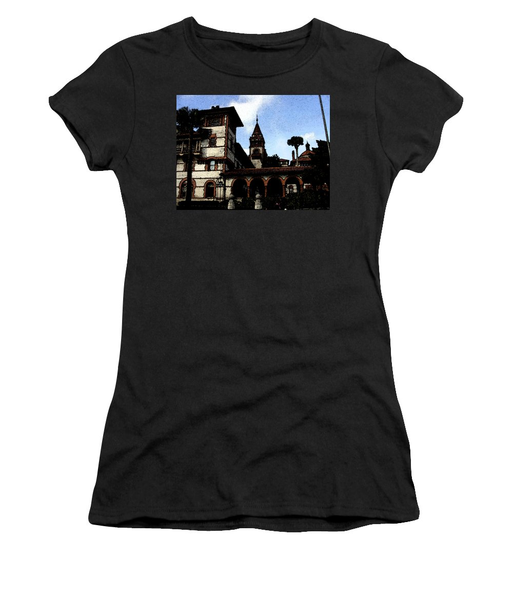 Hotel Women's T-Shirt (Athletic Fit) featuring the mixed media Victorian Era Hotel by Shirley Heyn