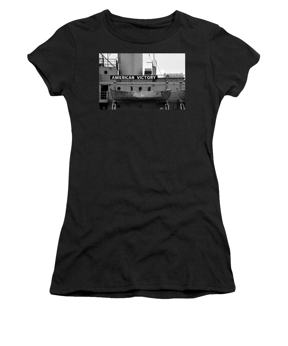 American Victory Ship Women's T-Shirt (Athletic Fit) featuring the photograph Victory Ship by David Lee Thompson