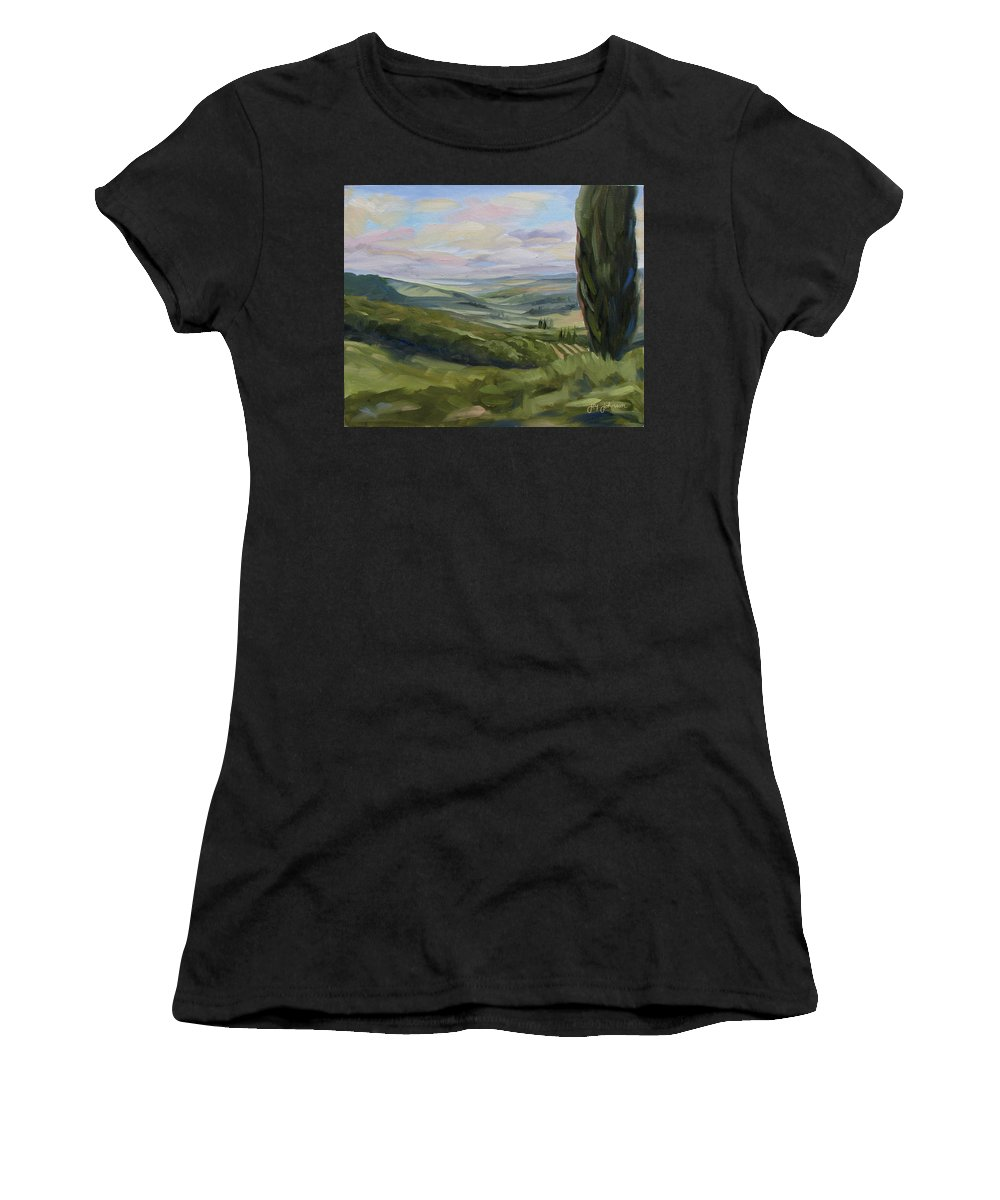 Landscape Women's T-Shirt (Athletic Fit) featuring the painting View From Sienna by Jay Johnson
