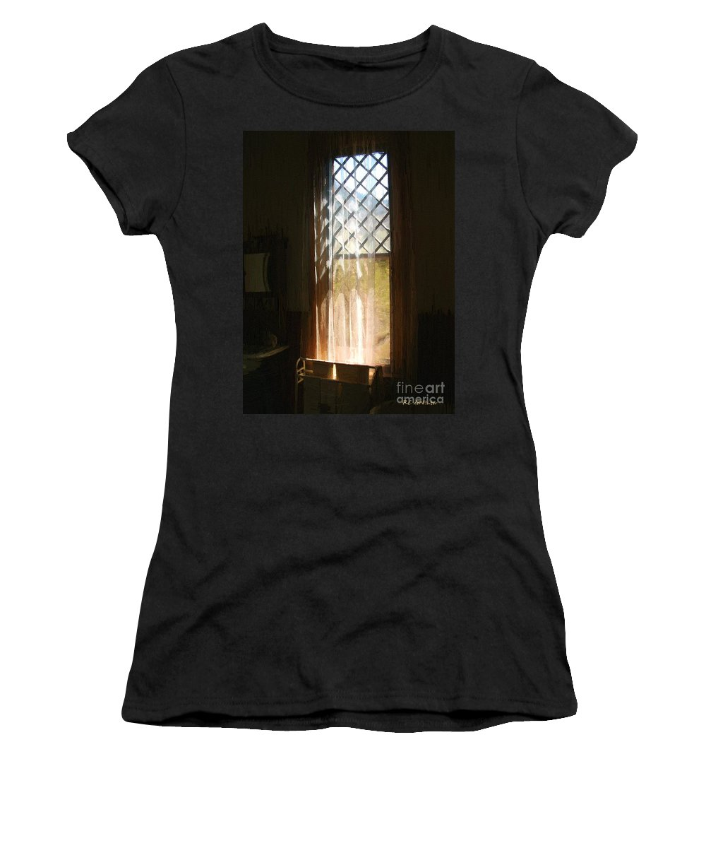 Vintage Women's T-Shirt (Athletic Fit) featuring the painting View From The Bathroom Window by RC DeWinter