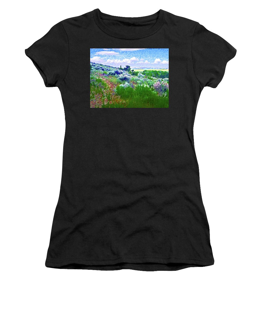 Abstract Women's T-Shirt (Athletic Fit) featuring the photograph View From The Cabin Window 2 by Lenore Senior