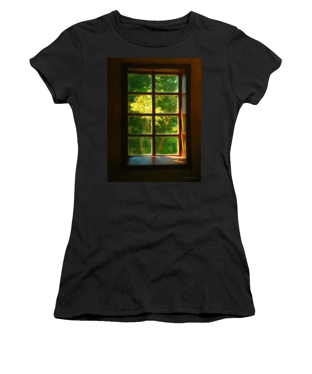 Autumn Women's T-Shirt (Athletic Fit) featuring the painting View From The Orwell Corner Church by RC DeWinter