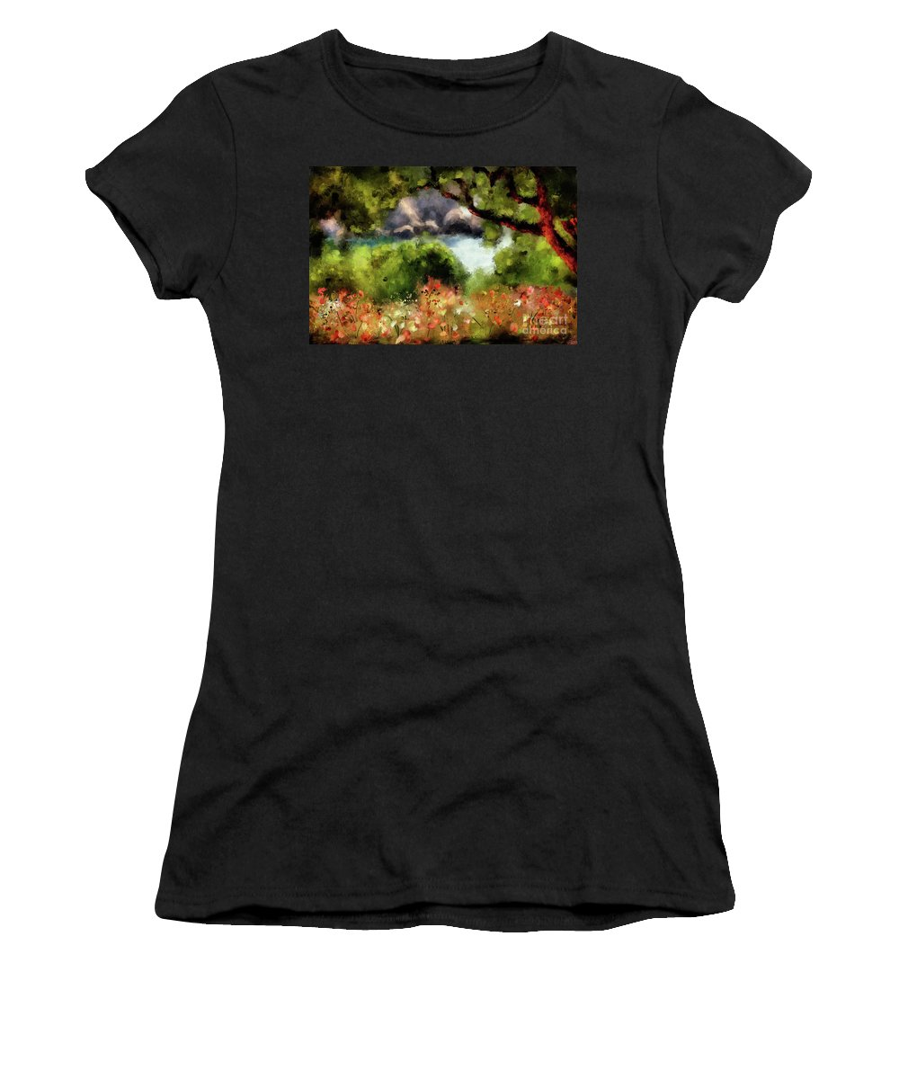 Corfu Women's T-Shirt (Athletic Fit) featuring the digital art View From The Terrace - Paleokastritsa by Lois Bryan