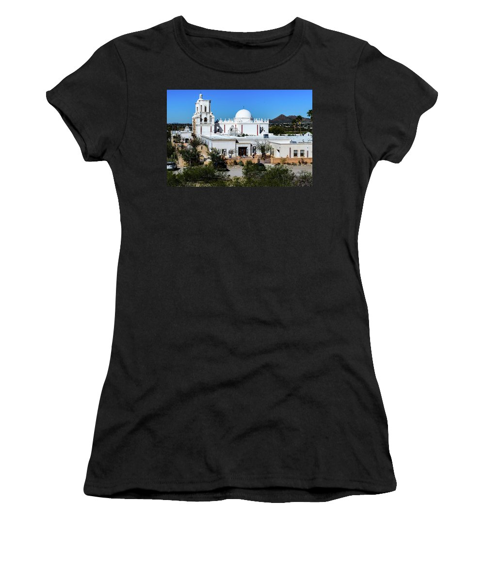 San Xavier Del Bac Mission Women's T-Shirt (Athletic Fit) featuring the photograph View From Tthe Hill - San Xavier Mission - Tucson Arizona by Jon Berghoff
