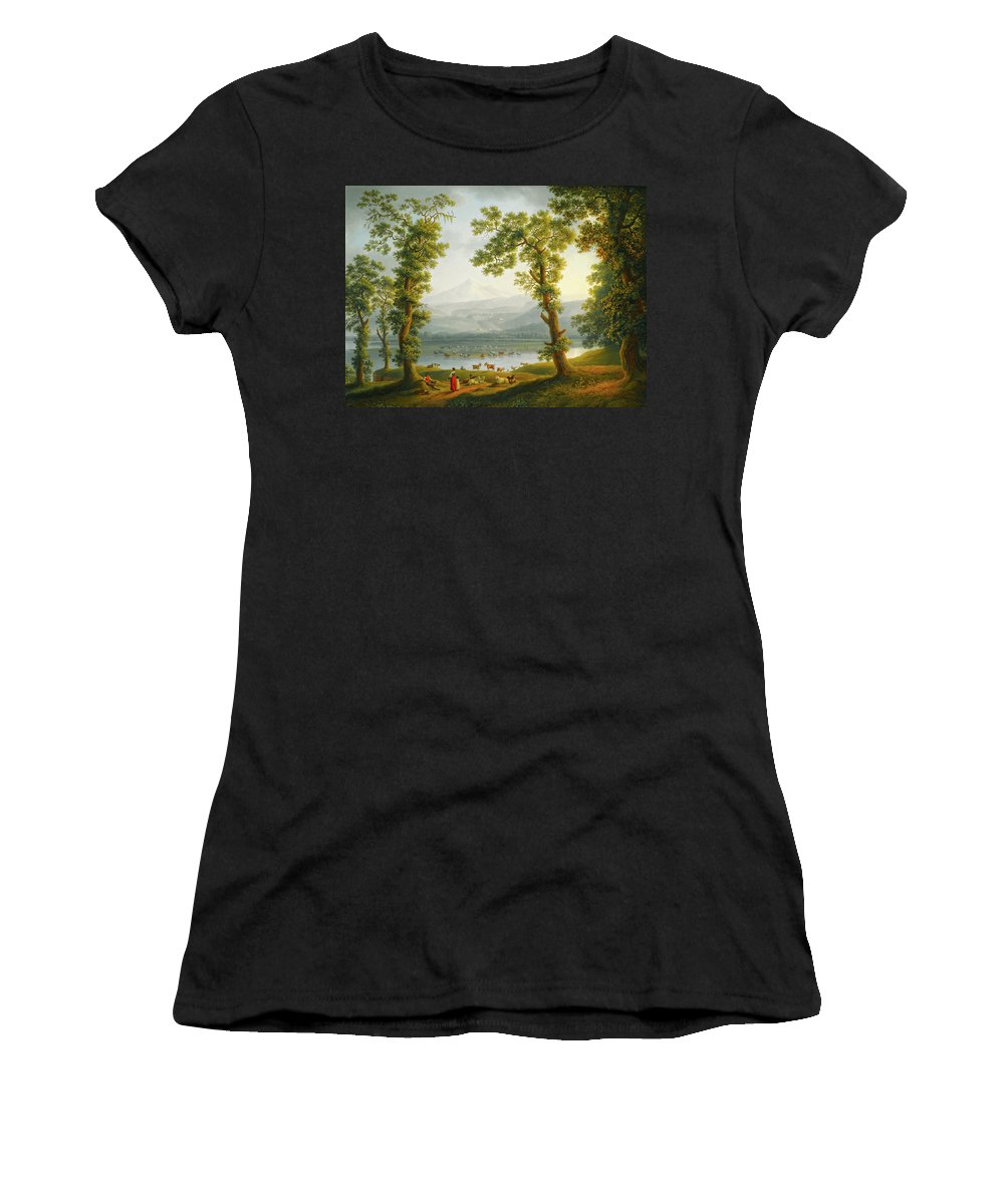 Painting Women's T-Shirt featuring the painting View Of Piedimonte by Mountain Dreams