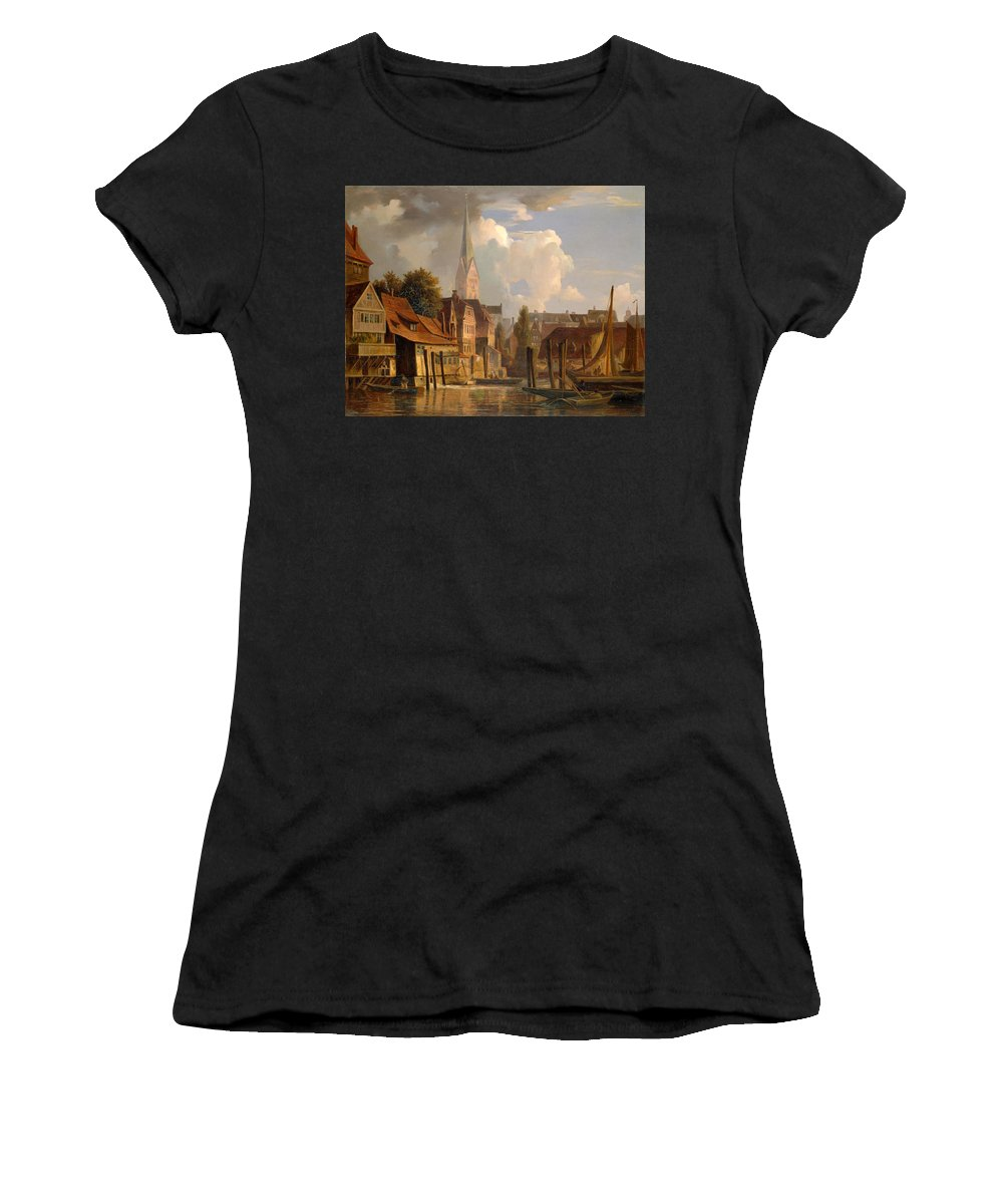 Adolph Friedrich Vollmer Women's T-Shirt (Athletic Fit) featuring the painting View Of The Little Alster by Adolph Friedrich Vollmer