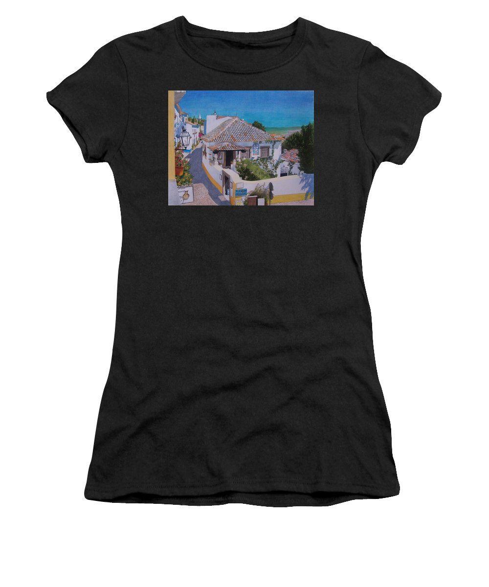 Green Women's T-Shirt (Athletic Fit) featuring the mixed media View On Obidos by Constance Drescher