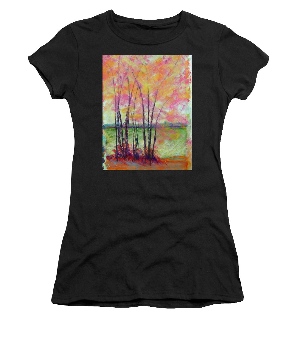 Edison Women's T-Shirt (Athletic Fit) featuring the painting View Through Bamboo by Laurie Paci