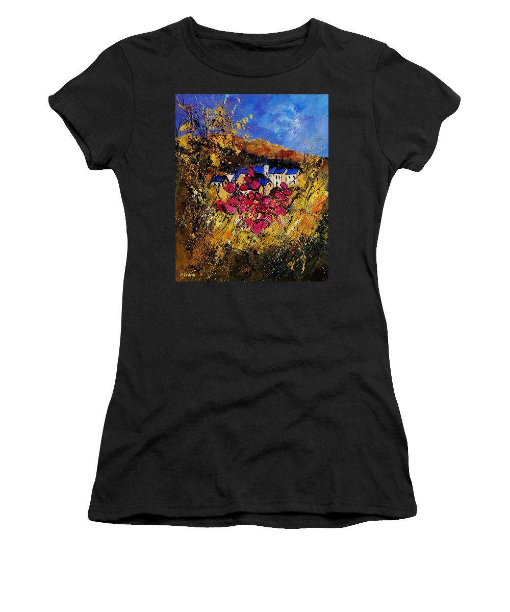 Flowers Women's T-Shirt featuring the painting Village 450808 by Pol Ledent