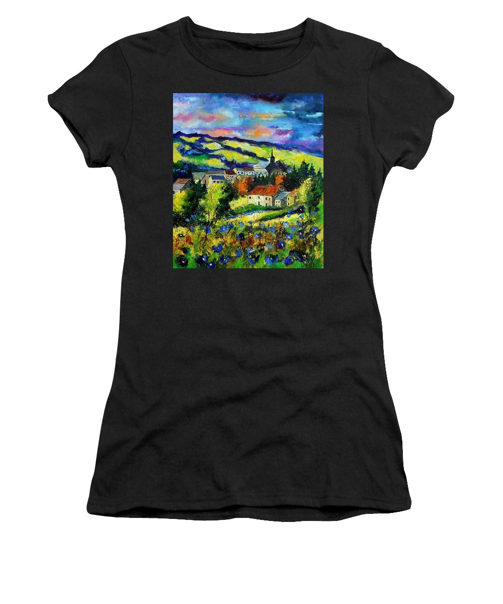 Landscape Women's T-Shirt (Athletic Fit) featuring the painting Village And Blue Poppies by Pol Ledent