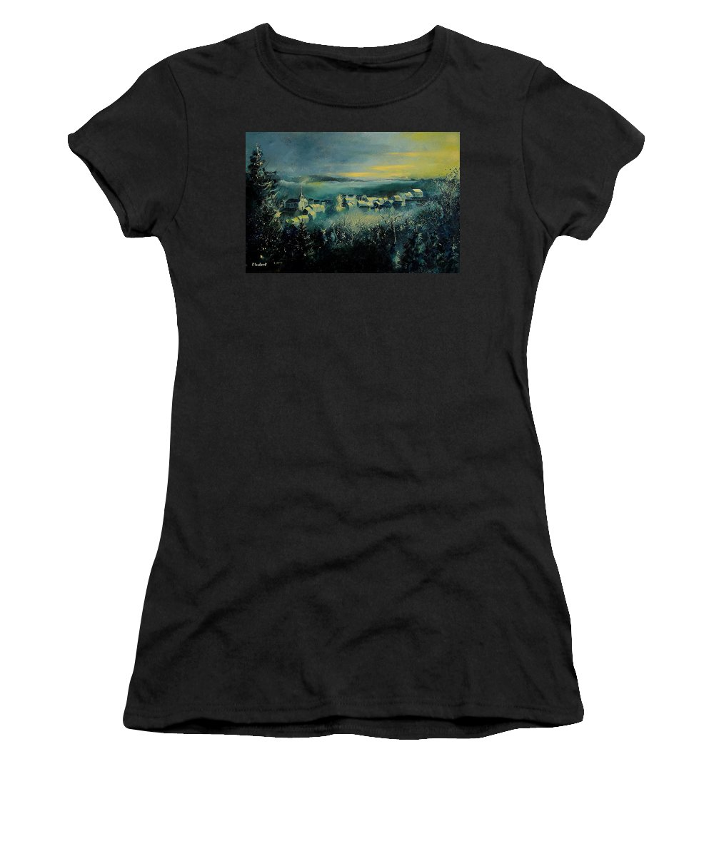 Village Women's T-Shirt featuring the painting Village In A Misty Morning by Pol Ledent