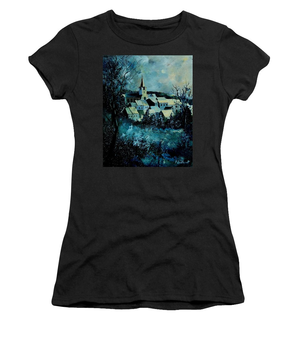 River Women's T-Shirt (Athletic Fit) featuring the painting Village In Winter by Pol Ledent