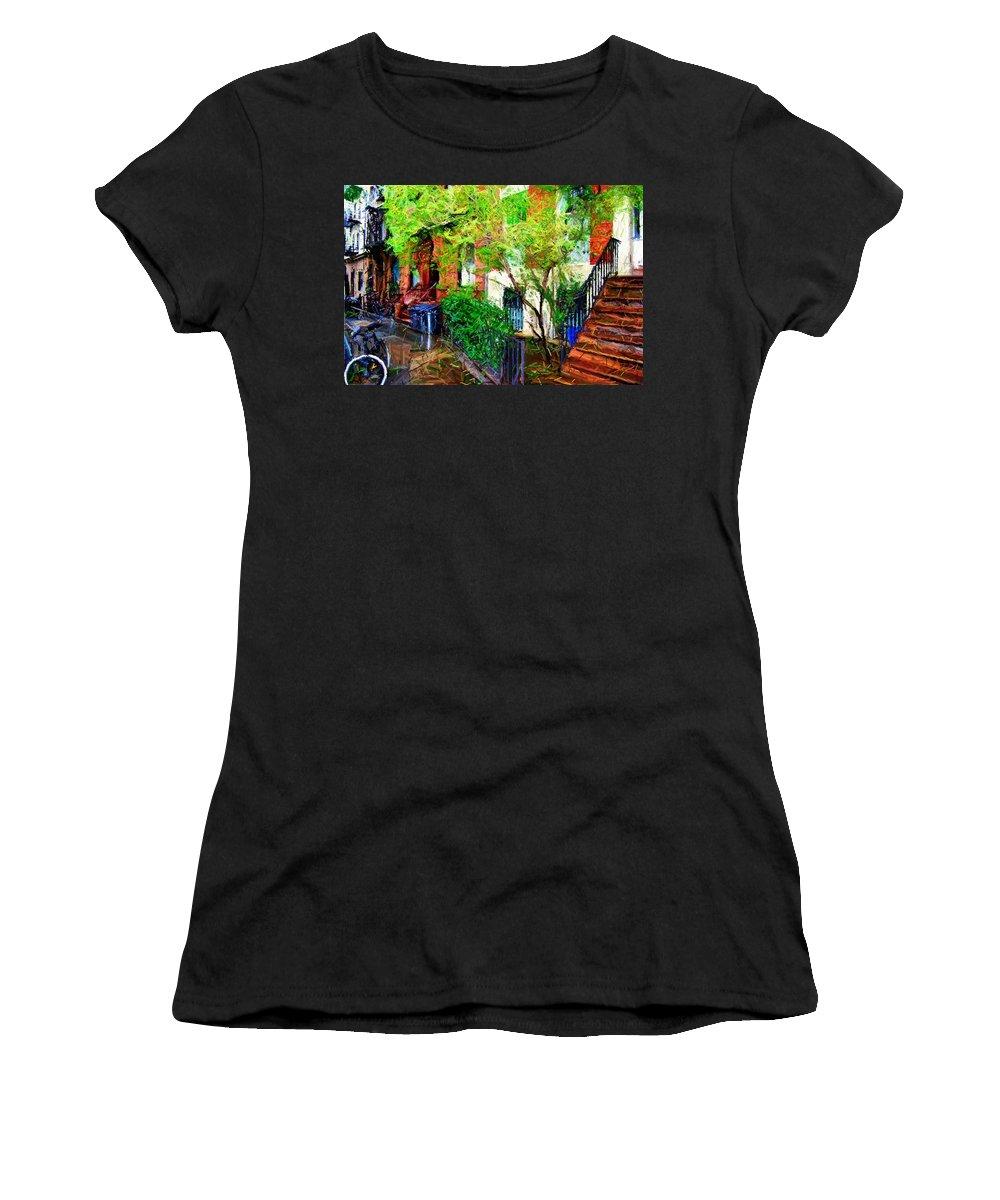 Greenwich Village Women's T-Shirt featuring the digital art Village Life Sketch by Randy Aveille