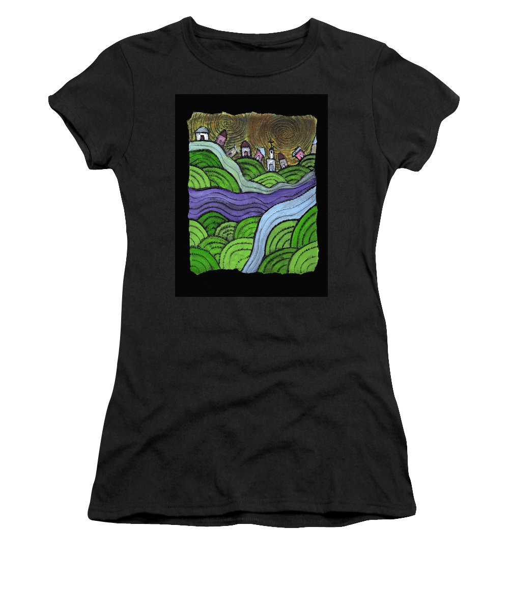 Village Women's T-Shirt (Athletic Fit) featuring the painting Village On The Hill by Wayne Potrafka