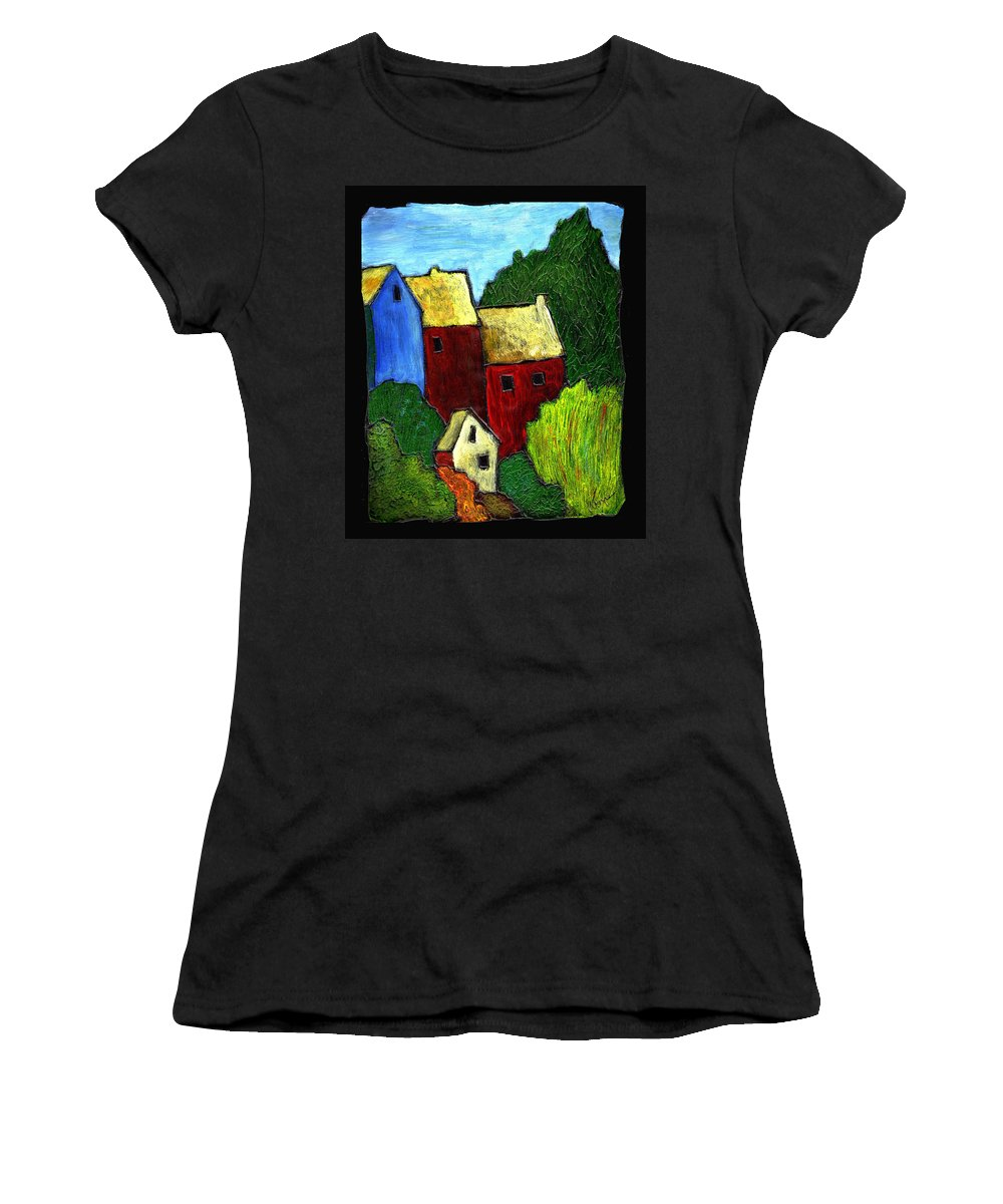 Village Women's T-Shirt (Athletic Fit) featuring the painting Village Scene by Wayne Potrafka