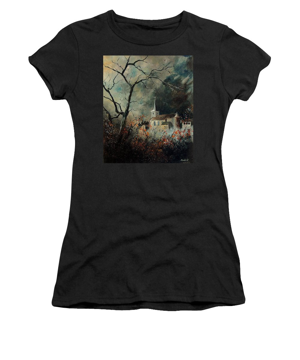 Tree Women's T-Shirt (Athletic Fit) featuring the painting Village Vivy by Pol Ledent