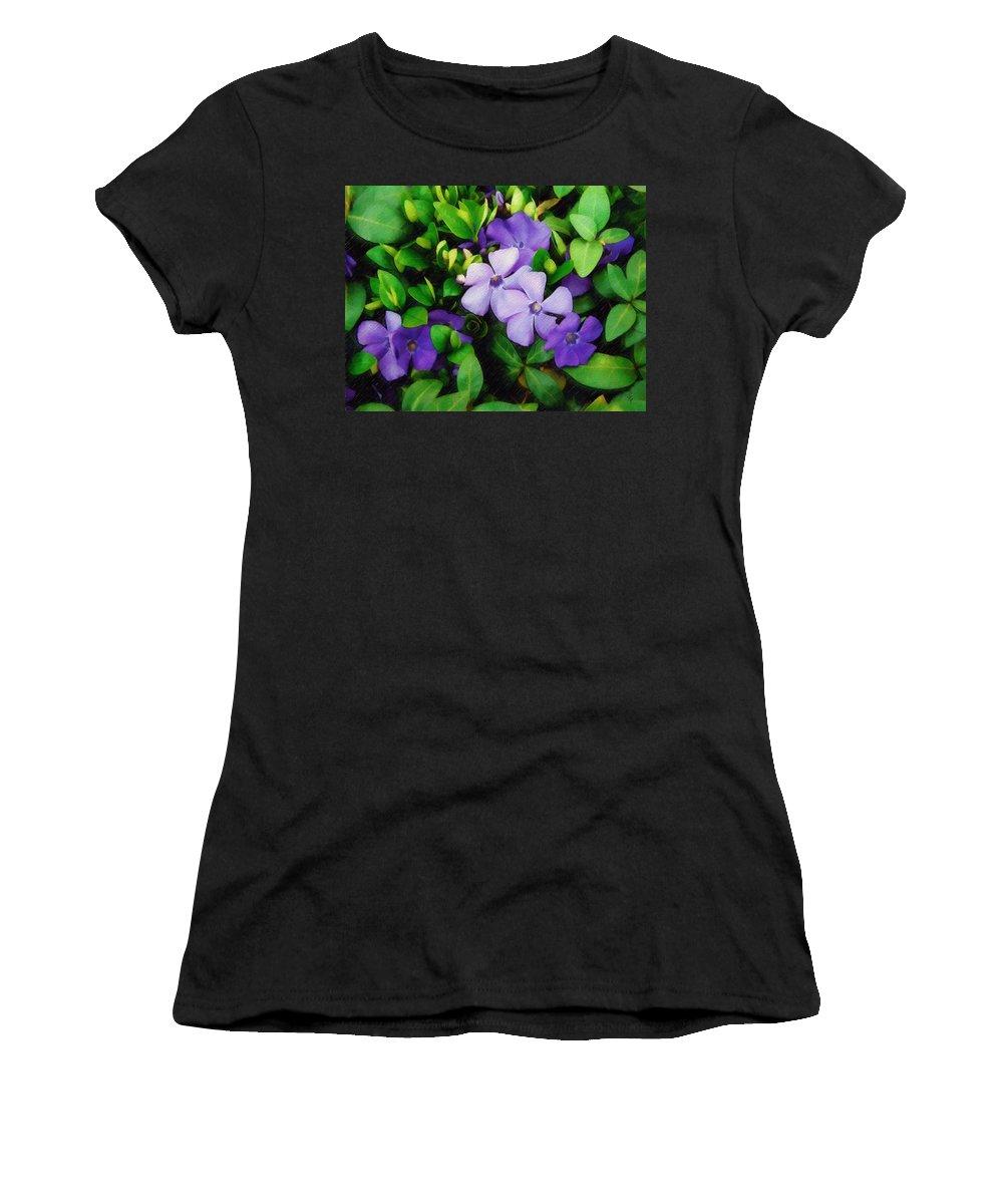 Vinca Women's T-Shirt (Athletic Fit) featuring the photograph Vinca by Sandy MacGowan
