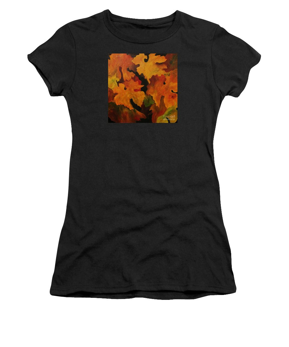 Leaves Women's T-Shirt (Athletic Fit) featuring the painting Vine Leaves by John Stuart Webbstock