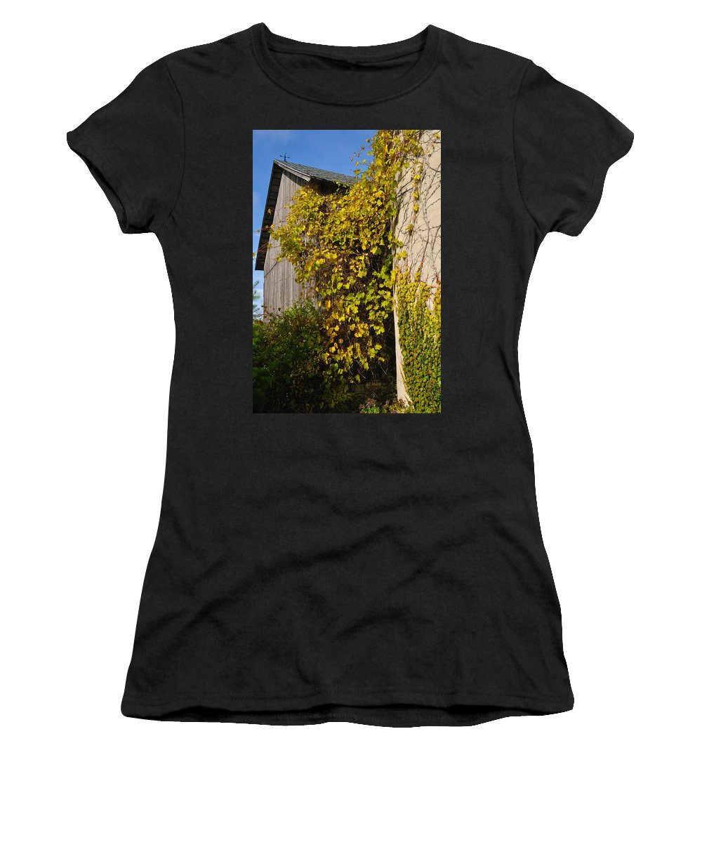 Silo Women's T-Shirt featuring the photograph Vined Silo by Tim Nyberg