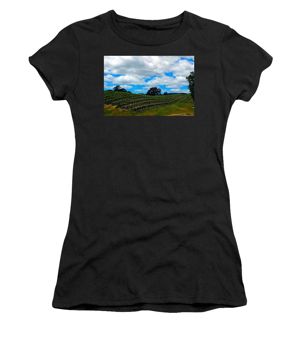 Vineyards Women's T-Shirt (Athletic Fit) featuring the photograph Vineyards In Paso Robles by Janine Moore