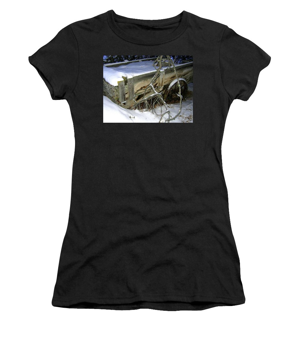 Farm Wagon Women's T-Shirt (Athletic Fit) featuring the photograph Vintage Farm Wagon by Will Borden