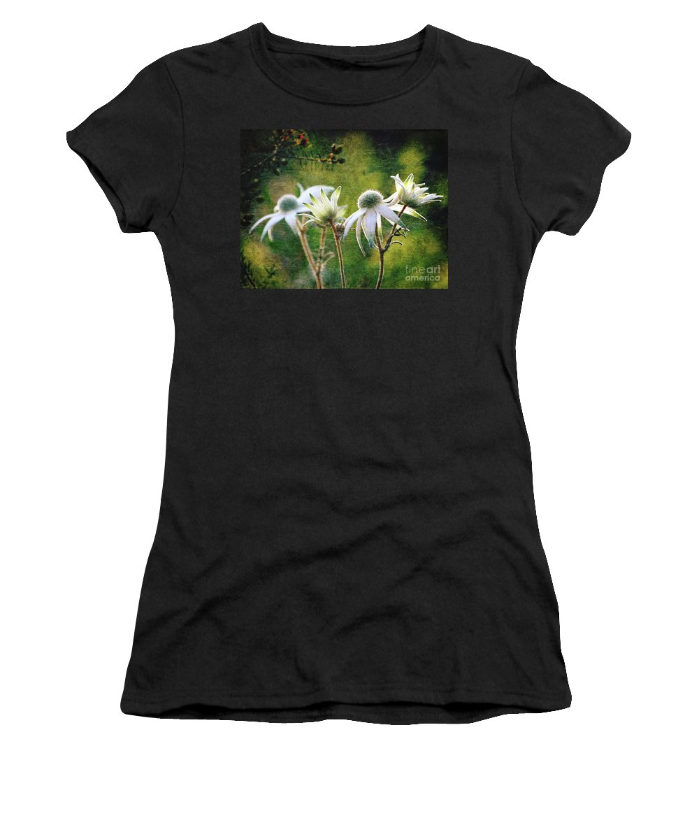 Flower Women's T-Shirt (Athletic Fit) featuring the photograph Vintage Flannel Flowers by Karen Black