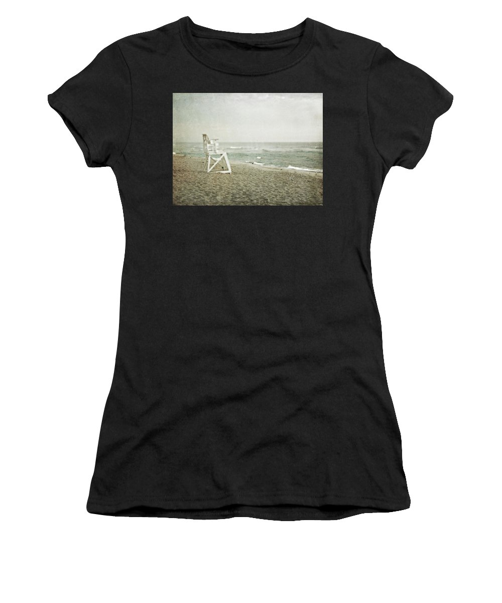 Vintage Beach Women's T-Shirt (Athletic Fit) featuring the photograph Vintage Inspired Beach With Lifeguard Chair by Brooke T Ryan