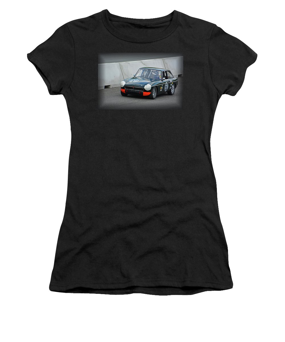 Motorsports Women's T-Shirt (Athletic Fit) featuring the photograph Vintage Mg Race Car by Mike Martin