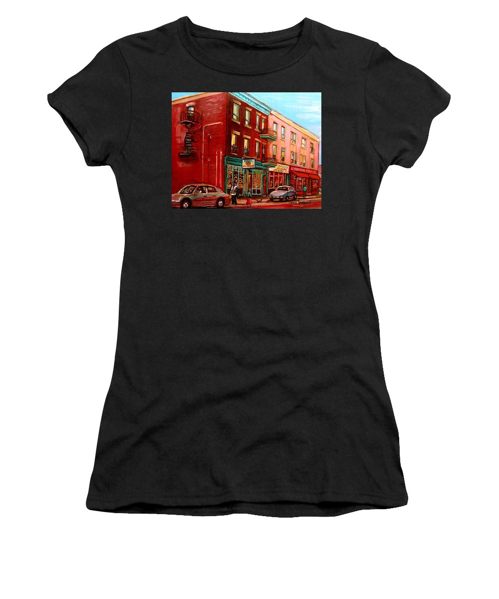St Viateur Bagel Shop Montreal Street Scenes Women's T-Shirt (Athletic Fit) featuring the painting Vintage Montreal by Carole Spandau