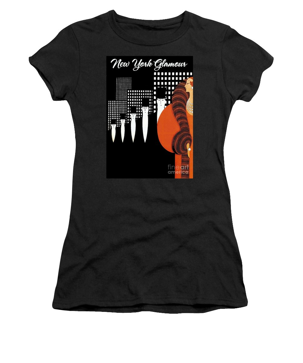Vintage New York Women's T-Shirt featuring the painting Vintage New York Glamour Art Deco by Mindy Sommers