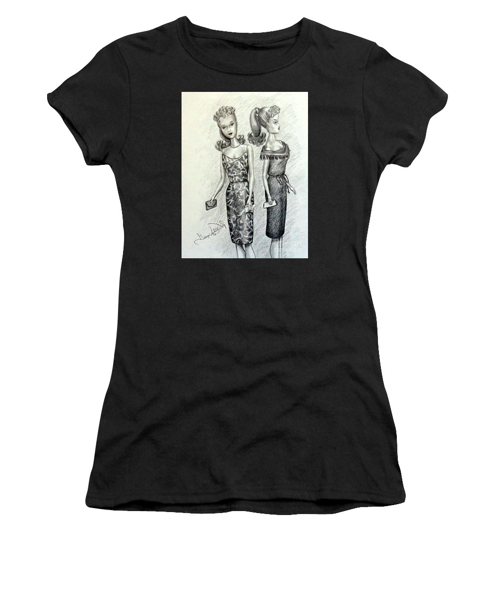 Art Women's T-Shirt featuring the drawing Vintage Ponytail Barbie by Georgia's Art Brush