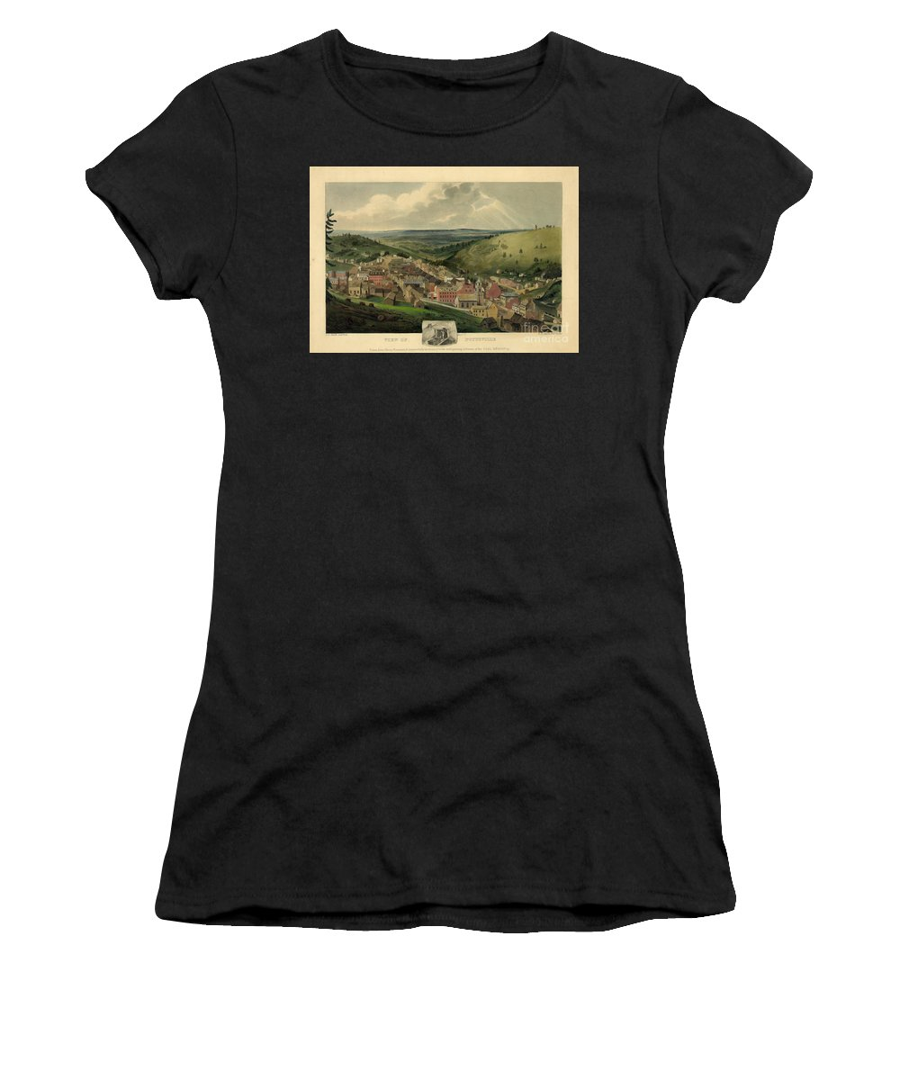 Pottsville Pennsylvania Women's T-Shirt (Athletic Fit) featuring the photograph Vintage Pottsville Pennsylvania Etching With Remarque by John Stephens
