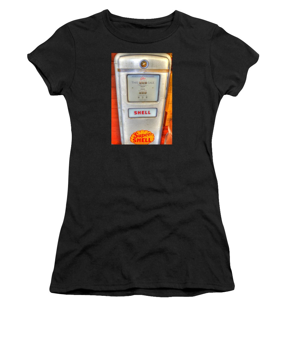 Vintage Women's T-Shirt featuring the photograph Vintage Shell Gas Pump by Linda Covino