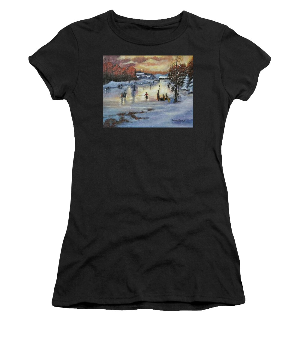 Skaters Women's T-Shirt featuring the painting Vintage Skaters by Valerie Bassett