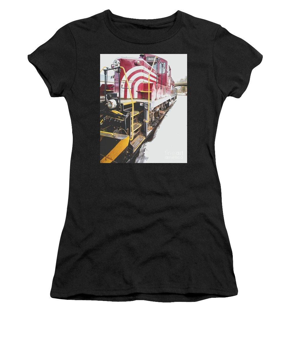 Railroad Women's T-Shirt featuring the photograph Vintage Train Locomotive by Edward Fielding