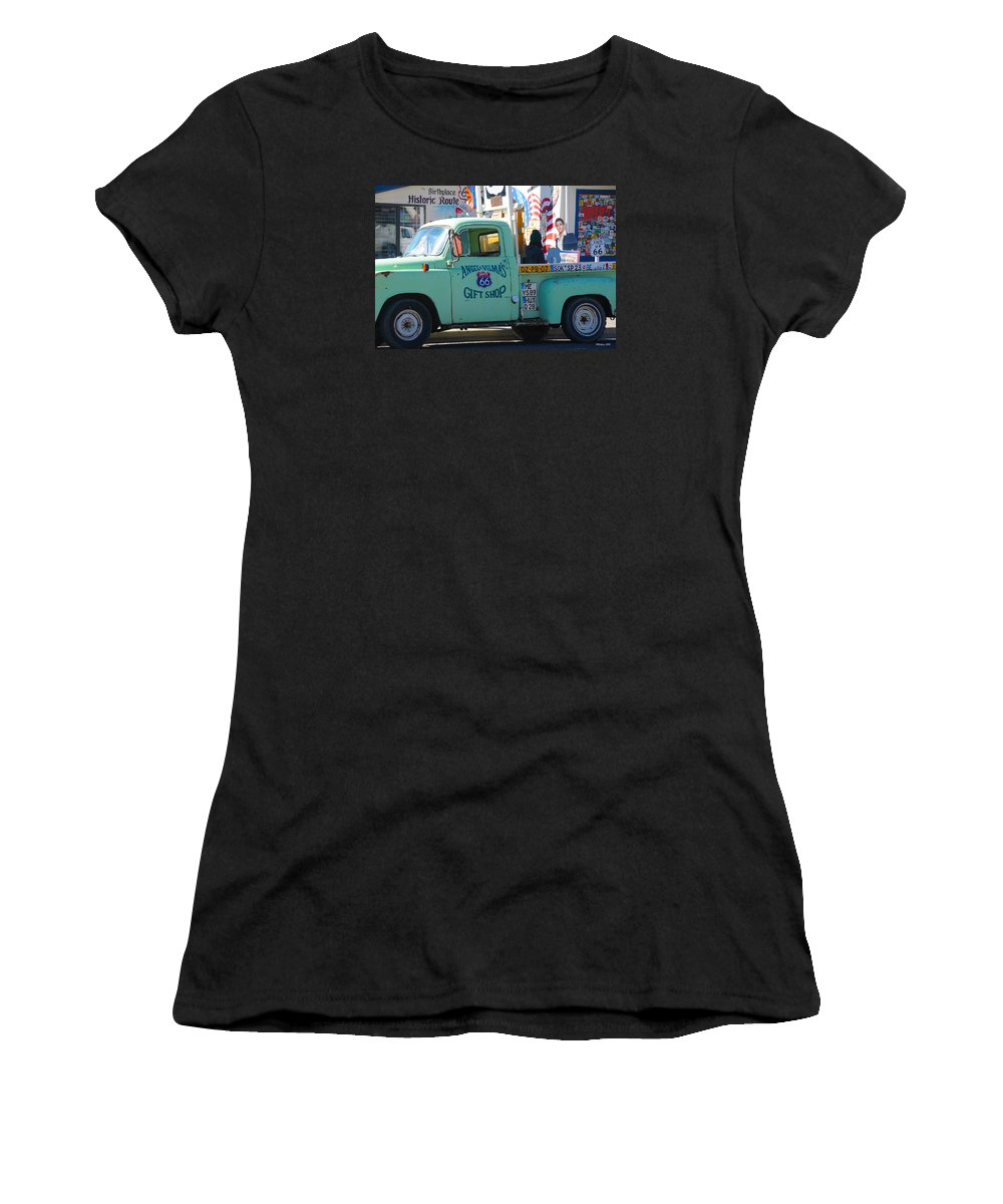 Gift Shop Women's T-Shirt featuring the photograph Vintage Truck with Elvis on Historic Route 66 by Victoria Oldham