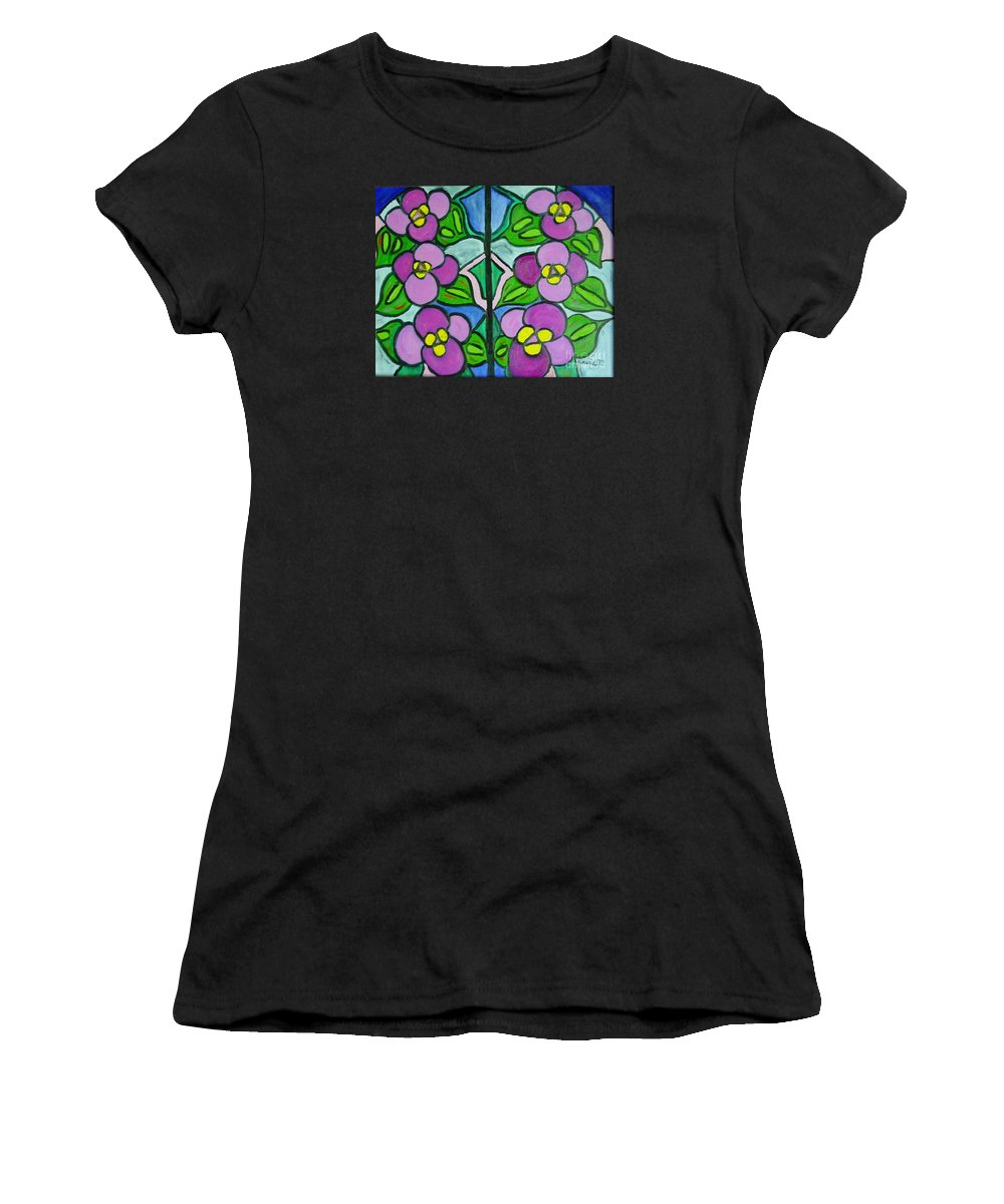 Violets Women's T-Shirt (Athletic Fit) featuring the painting Vintage Violets by Laurie Morgan