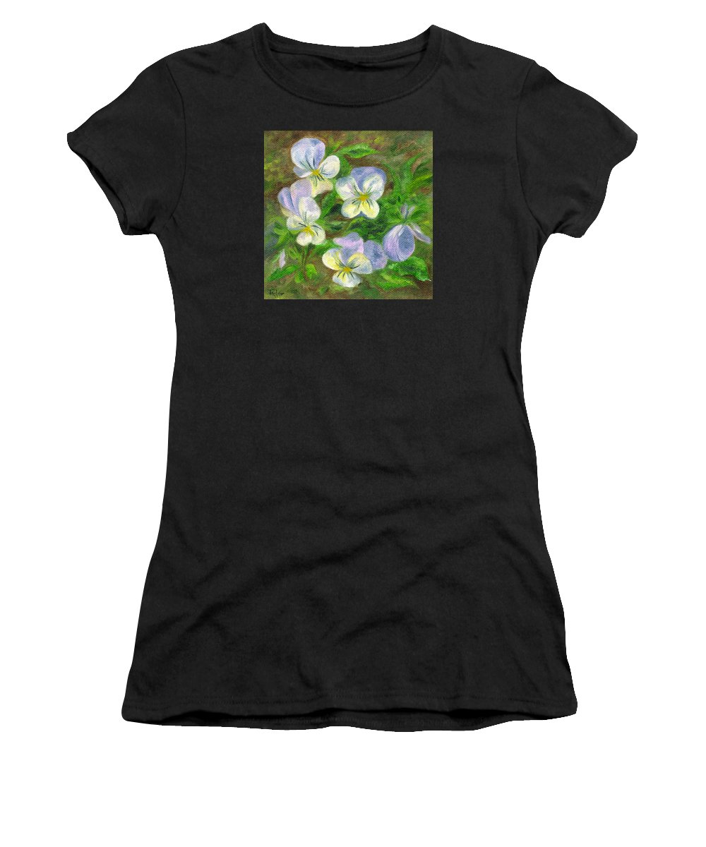Flowers Women's T-Shirt featuring the painting Violets by FT McKinstry